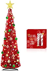 TURNMEON 5 Ft Pop Up Christmas Tinsel Tree with Timer 50 Color Lights, Pre-lit Christmas Tree Decoration with