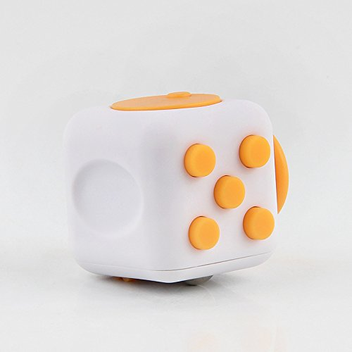 Fidget Dice 6 Sides Cube Anti-Anxiety and Depression Toys for Children and Adults (White/Black) -