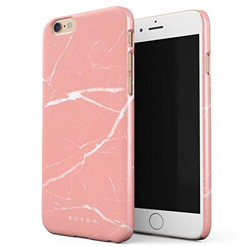 iPhone 6 / 6s Hülle, BURGA Pfirsich Marmor Pink Rosa Licht Farbig Bunt Marble Dünn, Robuste Rückschale aus Kunststoff Für iPhone 6 / 6s Handyhülle Schutz Case Cover (Coral Farbige Taste)