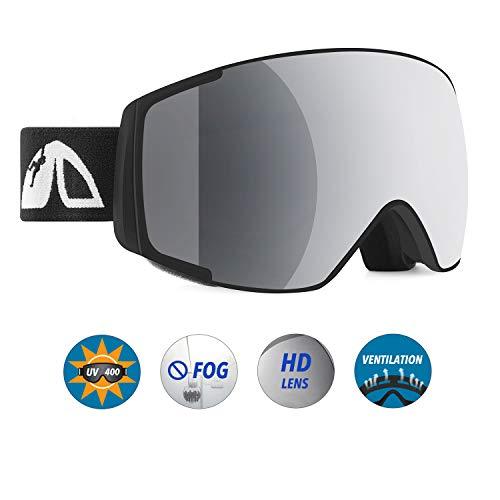 Unigear Skibrille, Skido X1, Snowboard Brille Schneebrille, UV-Schutz Beschlagschutz Augenschutz Anti-Schwindel, für Herren Frauen und Kinder