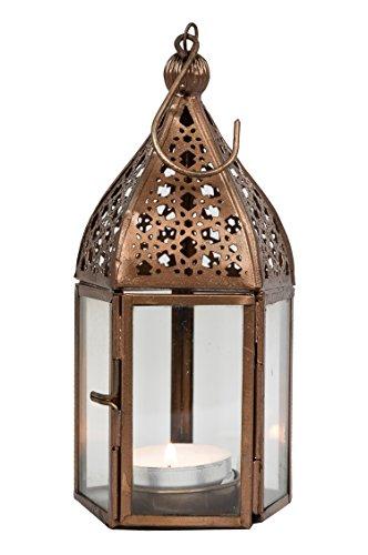 Orientalische Laterne aus Metall & Glas Meena klar 16cm | orientalisches Windlicht | Marokkanische Glaslaterne für innen | Marokkanisches Gartenwindlicht für draußen als Gartenlaterne
