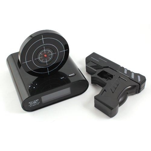 Digital-Wecker mit LCD Display Zielscheibe Infrarot Pistole ' Gun Alarm Clock ' ( Weiß ) - Geschenk...