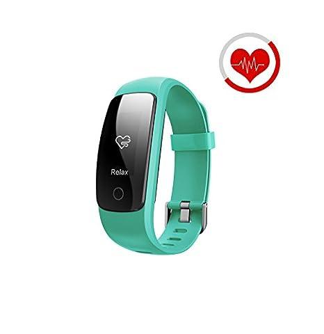 Fitness Tracker, Smart Armband Herz Rate Monitor/Activity Tracker Fitness Health Smartwatch/Music Control, Antiverlust/Wasserdicht Tracker Monitor Kalorienzähler Schrittzähler Armbanduhr für Android und IOS, grün