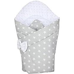 TupTam Manta Envolvente Arrullo Acolchado para Bebé, Estrellas Gris, c. 75 x 75 cm