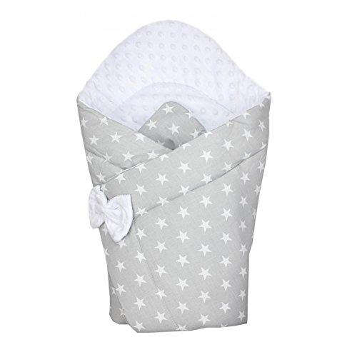 TupTam Baby Winter Einschlagdecke Warm Wattiert Minky , Farbe: Sterne Grau, Größe: ca. 75 x 75 cm