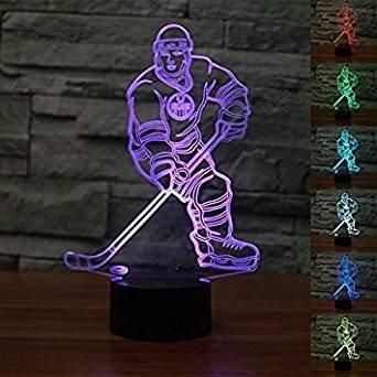 Jinson well 3D eishockey spieler Nachtlicht Lampe optische Nacht licht Illusion 7 Farbwechsel Touch Switch Tisch Schreibtisch Dekoration Lampen perfekte Weihnachtsgeschenk mit Acryl Flat USB Spielzeug