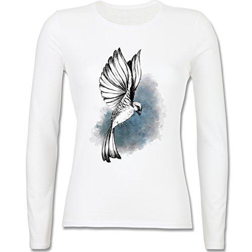 Vögel - Vogel Aquarelle Zeichnung - tailliertes Longsleeve / langärmeliges T -Shirt für Damen Weiß