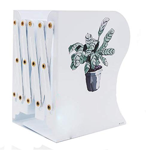 Sodhue Stabil Buchstützen Einstellbare Bücherhalter aus Hohe Qualität Einziehbar Stehend Bücherregal Faltbares Ausziehbare Buchstützen aus Metall Bürodekoration Studenten Bücherstützen(Weiß) -