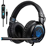 Auriculares PS4, SADES R5 Xbox One Mic Gaming Headset Auriculares para Juegos con micrófono Xbox One PS4 Laptop Mac Tablet iPhone iPad iPod (Negro)