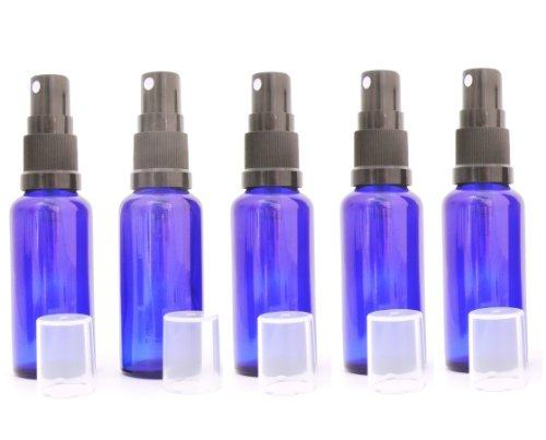Blauglasflasche 30 x 5 ml bleu roi/pulvérisateur avec pompe-tête noir transparent capuchon de protection dIN 18 selon la pharmacopée européenne