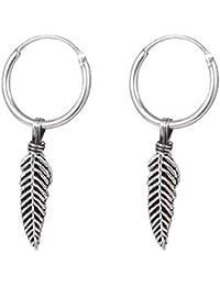 7d03d1c17869 TDiBody Jewellery - Pendientes de aro de Plata de Ley 925 con Plumas H145 (1
