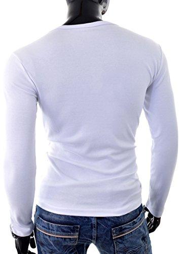 D&R Fashion Männer T-Shirt Slim Fit mit V-Ausschnitt Klare Farben 100% Baumwolle in allen Größen Weiß