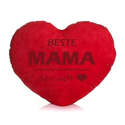 Shirt & Stuff / Herzkissen / Plüschkissen Herzform / verschiedene Sprüche auswählbar / Dein Statement / Deko / Kissen / Geburtstag / Valentinstag / Muttertag / Geschenk / Beste Mama