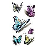 Etbotu 1foglio 3D farfalle colorate tatuaggi temporanei impermeabile non tossico trasferimento sticker corpo