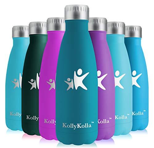 KollyKolla Bottiglia Acqua in Acciaio Inox, 500ml Senza BPA Borraccia Termica, Isolamento Sottovuoto a Doppia Parete, Borracce per Bambini, Scuola, Sport, All'aperto, Palestra, Yoga, Army Verde