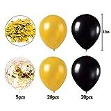 MMTX Luftballons Schwarz Gold Ballons 45 Stück Silvester Luftballons, Ballons Gold mit Gold Konfetti Luftballon für Damen Herren Geburtstag Deko, Deko Silvester 2019, Abschluss Halloween Party - 2