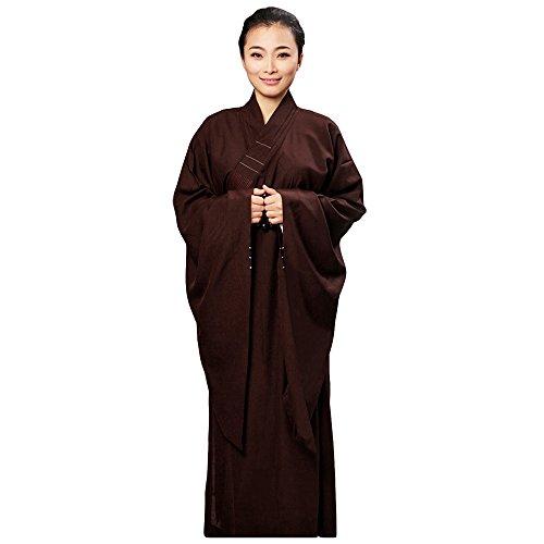ZooBoo Mönch Buddhist Kostüm Robe - chinesische traditionelle Kleidung Religion Taoismus Buddhismus Buddha Shaolin Thai Kampfkunst Wushu Kung Fu Langärmelige kulturelle Uniform mit Stehkragen Unisex Anzug für Frauen und ()