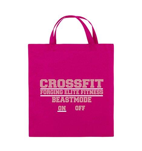 Borse Commedia - Crossfit Forgiatura Elite Di Fitness Beastmode On Off - Juta - Manico Corto - 38x42cm - Colore: Nero / Bianco-rosa Neon / Bianco-rosa
