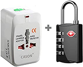 DOCOSS Set of 2- TSA Approved Metal Number Lock for Luggage Bag with Universal International Worldwide Travel Adapter