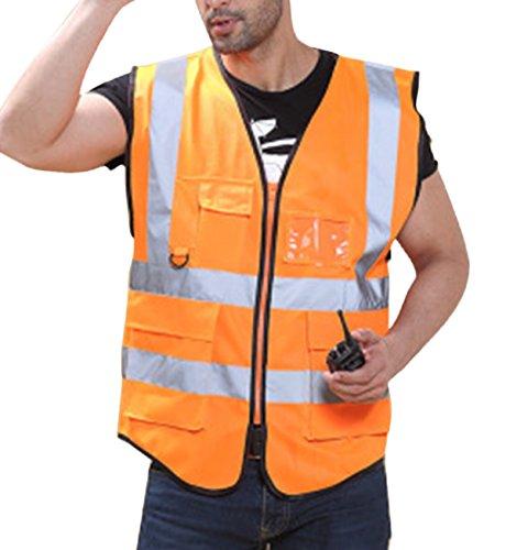 Feoya Unisex Warnweste Atmungsaktiv Hohe Sichtbarkeit Sicherheitsweste Reflektierende Weste mit Vier Taschen Reißverschluss - Fluoreszenz Gelb Größe L