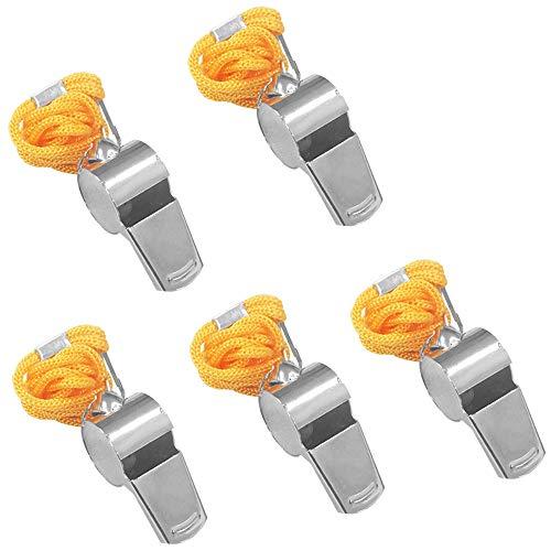 FineGood 5 Stück Edelstahl Pfeife, Laute Metallpfeife mit gelbem Schlüsselband für Schiedsrichter, Trainer, Rettungsschwächer, Survival, Fußball, Basketball, Hockey