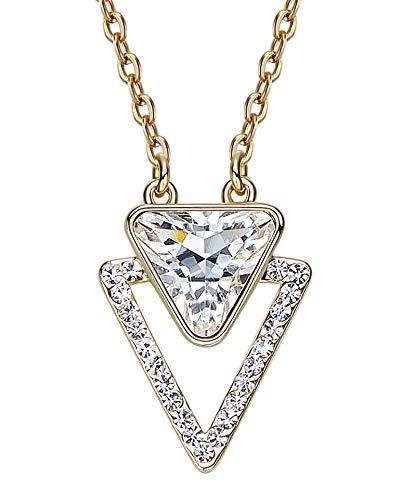 Lafeil Halsketten Damen Rosegold Halskette Edelstahl Rosegold Glänzende Halskette Mit Dreieckiger Form Weiß Zirkonia (90er-jahre-alien)