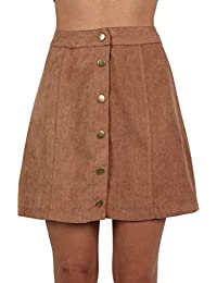 PILOT® Women's Faux Suede Front Button Mini Skirt in Tan Brown