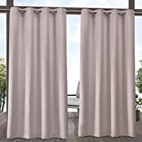 Exclusive Home Curtains Indoor/Outdoor Solid Cabana Grommet Top Curtain Panel Pair, 54x96, Blush