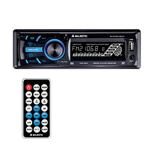 Majestic SD - 245 Radio mit Front Aux Input AUX IN, Fernbedienung, abnehmbare Front-Panel, schwarz -