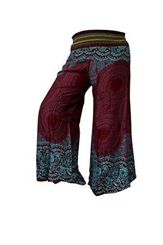 Palazzo-Hosen mit weiten Hosenbeinen, Schlaghosen Hippy Boho Gypsy Festival Hipster Style (Rose Dark Red) (Sleep-pants Baumwolle Muster)