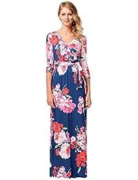 490dbf1447691 Ode Joy Abito lungo stampa floreale a maniche lunghe di Bohemian cintura  Vestito da donna Casual Ampia
