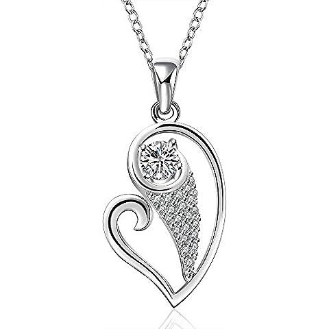 NYKKOLA Fashion Jewellery-Ciondolo in argento Sterling 925, con cristalli, a forma di cuore, con collana, per donna