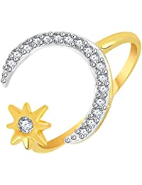 VK Jewels Moon With Star Gold And Rhodium Plated Alloy CZ American Diamond Ring For Women [VKFR2773G]