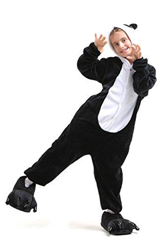 Panda Ganzkörper Tier-Kostüm für Kinder - Plüsch Einteiler Overall Jumpsuit Pyjama Schlafanzug - Schwarz/Weiß - Größe 110-122 (Hersteller Gr. 105)