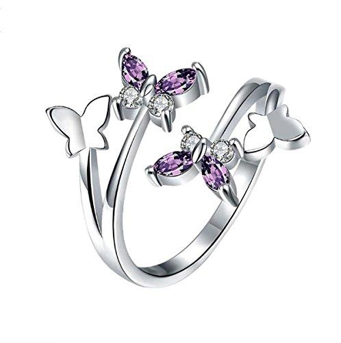 Leisial anello di moda nuovo anello asimmetrico farfalla regolabile temperamento dolce gioielli femminili argento