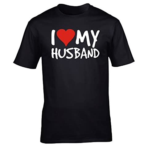 I LOVE MY HUSBAND (M - BLACK) NEW PREMIUM LOOSE FIT BAGGY T SHIRT - Anniversary Wife Valentines Day Spouse Partner Marriage Slogan Funny Novelty Nerd Vintage retro top clothes Unisex Mens Ladies Womens Girl Boy tshirt shirts s joke keep Fashion Top Urban Calm Co
