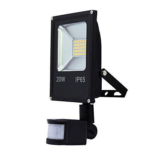 VINGO® 20W LED SMD Strahler Fluter Außen Strahler mit PIR Bewegungsmelder Fluter IP65 Aluminiumkörper Schwarz Kaltweiß