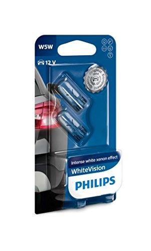 Philips - Confezione da 2 lampadine per auto W5W White Vision - Bianco effetto Xenon - Luci anteriori - Lampade di segnalazione e abitacolo - Certificate ECE