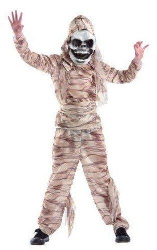 Foxxeo 10258 | Mumiekostüm Kostüm Mumie Mumienkostüm für Kinder Kinderkostüm braun mit Maske Gr. 134 - 164, Größe:146/152