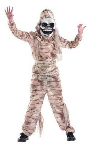 Foxxeo 10258 | Mumiekostüm Kostüm Mumie Mumienkostüm für Kinder Kinderkostüm braun mit Maske Gr. 134 - 164, (Mumie Halloween Kostüm)