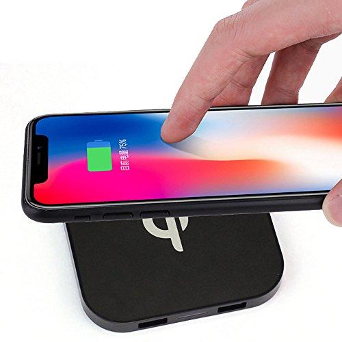 (Fulltime E-Gadget Handy Schnellladegerät Kabellos,Tragbare Mini Qi Safe Wireless Ladegerät Lade Pad Dual-USB für Iphone8 / 8 Plus/X (Schwarz))