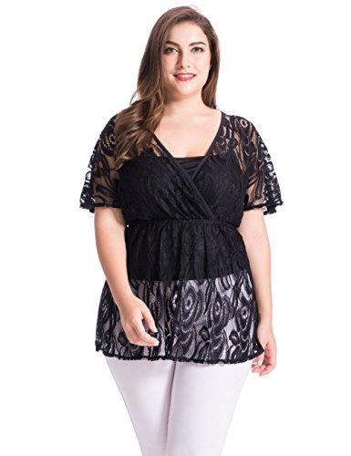 Chicwe Damen Große Größen Blumen Lace Top mit Jersey Cami Schwarz 4X (Elastische Petite-jersey Taille)