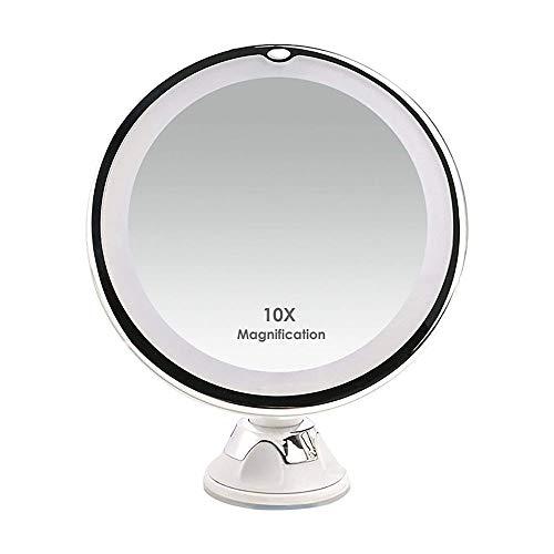 Aiil Espejo de Aumento 10x con Luces LED Naturales, 20 LED de luz Diurna, Ventosa de Bloqueo, Espejo...