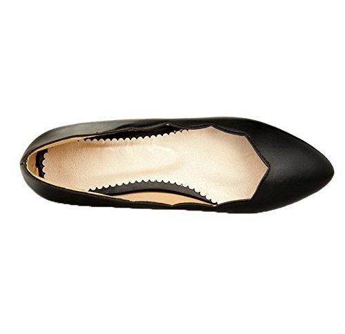 Femme Chaussures Tire Bas Noir Légeres DOrteil PU à Talon AgooLar Cuir Fermeture fxwngfBU