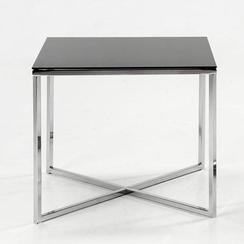 lounge-zone Beistelltisch Couchtisch Wohnzimmertisch Glastisch NEPTUN chrom Glasplatte schwarz eckig 50x50x45cm 723