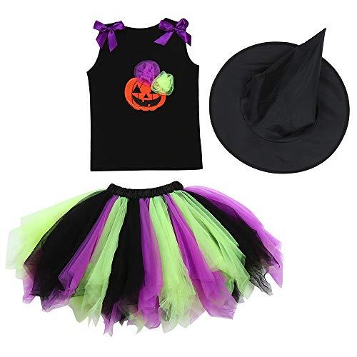 (Yesmile Kinder Halloween Kleidung Mädchen Kinder Halloween Set Kleidung Kleinkind Kleider Cosplay Fledermaus Kleid Kostüm Party Top + Hut Outfit +Rock)