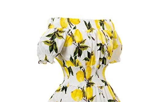 iLover 40s 50s 60s Vintage Rockabilly off shoulder Hepburn Stil Kleid Floral Partykleid Cocktailkleid Weiß