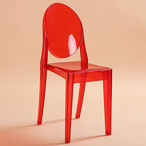 Youju yx shop® sedia di plastica acrilica seggiolone sedie dinette albergo caffè sedia trasparente 36x46x90cm * (colore : red)