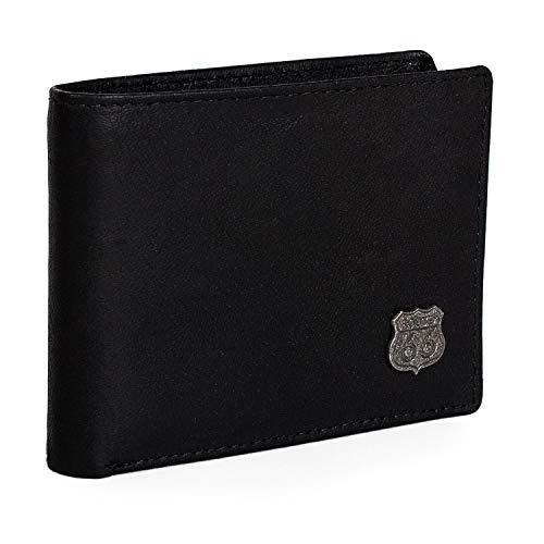 ROUTE 66 - R40111 Portafoglio, portamonete, porta carte di credito di vera pelle per uomo. Portamonete interno con zip. 7 scomparti per carte e documentazione, 2 per banconote, Color Nero
