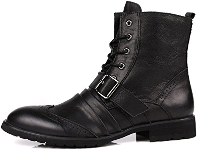 NIUMJ Zapatos Británicos Zapatos Coreanos Botas Martin Moda Zapatos con Cordones Zapatos De Tendencia Botas De...